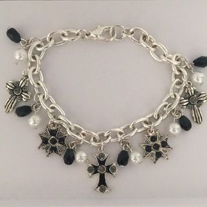 Charm bracelet Crosses with Faux Pearls/Glass Bead